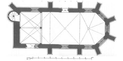 Bild: Grundriss der Templerkapelle Mücheln bei Wettin. Dieses Bild ist gemeinfrei, weil seine urheberrechtliche Schutzfrist abgelaufen ist.