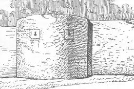 Bild: Umfassungsmauer des Templerhofes zu Mücheln bei Wettin in einer historischen Zeichnung. Dieses Bild ist gemeinfrei, weil seine urheberrechtliche Schutzfrist abgelaufen ist.