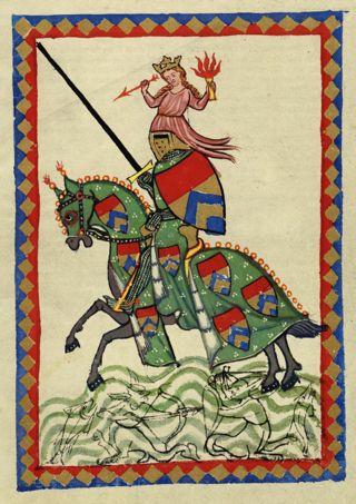 Bild: Ritter mit Pferd, Lanze und Rüstung. Das Bild stellt nicht Hoyer von Mansfeld dar. Dieses Bild ist gemeinfrei, weil seine urheberrechtliche Schutzfrist abgelaufen ist.