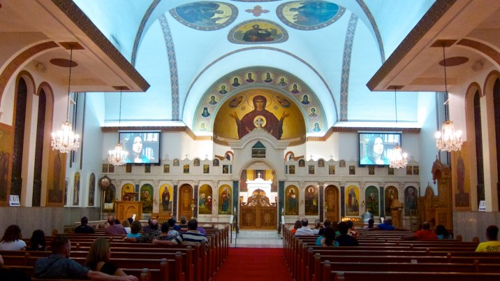 Inside the Greek Orthodox cathedral