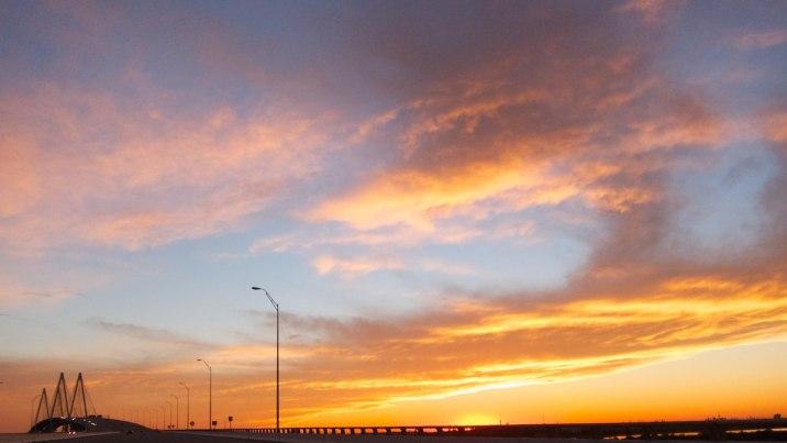 Fred Hartman Bridge at sunset.