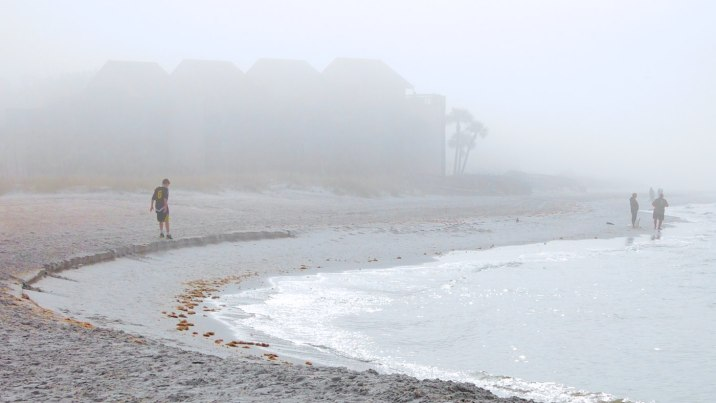Morning fog over Treasure Island beach at John's Pass.