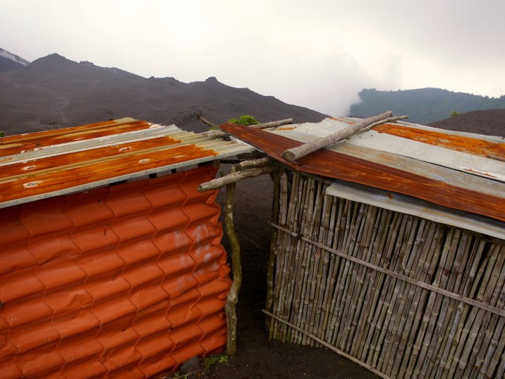 Shelters on the mountain are made of everything rigid.