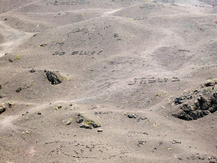 Write your name in basalt.