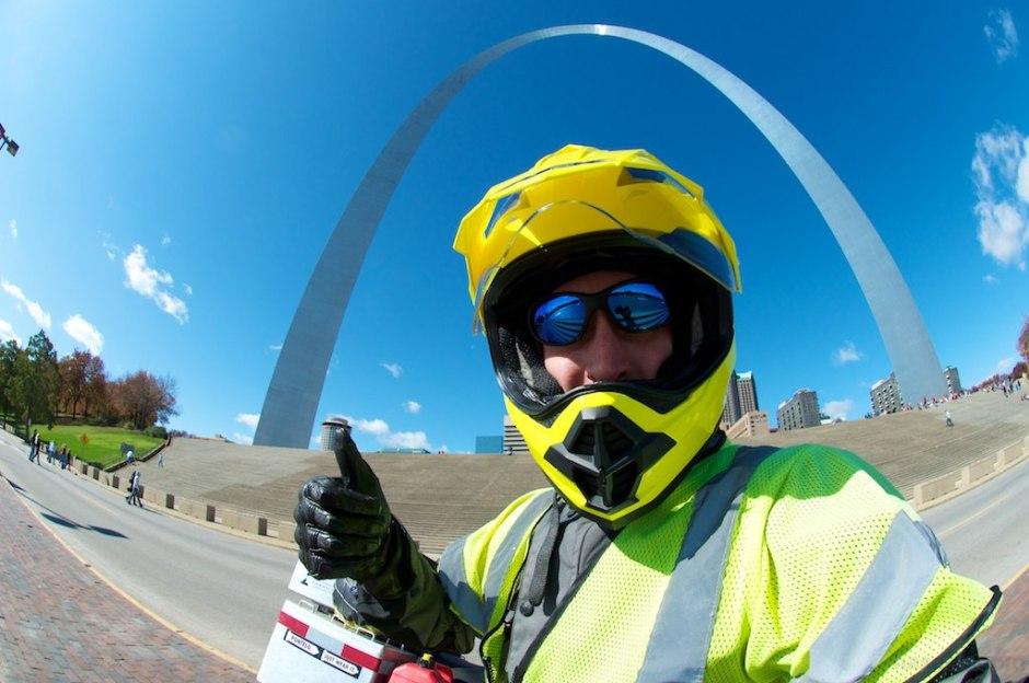 Posing beneath the St. Louis Gateway Arch.