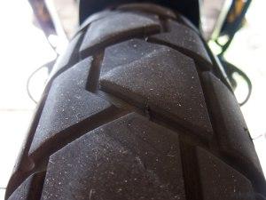Worn front tire