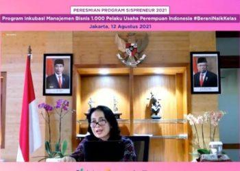 Menteri Pemberdayaan Perempuan dan Perlindungan Anak (PPPA) Bintang Puspayoga meresmikan Program Sispreneur 2021 Kelas Inkubasi Manajemen Bisnis (Pendampingan) bagi 1.000 Pelaku Usaha Perempuan Indonesia