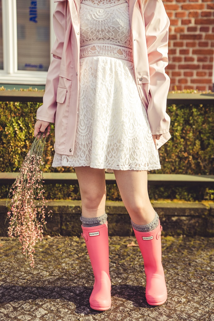 Gummistiefel Frühling Hunter Outfit rosa 2