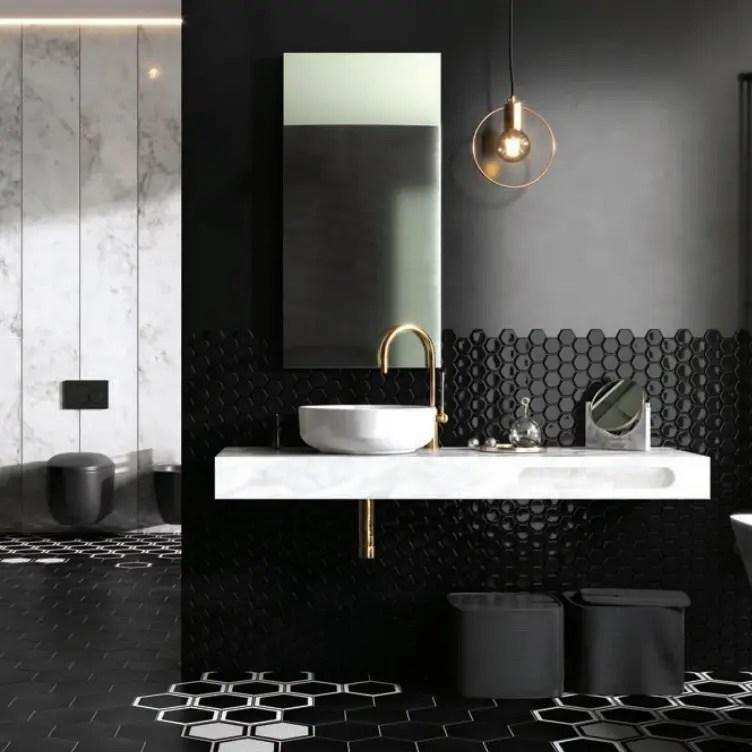 konsola ELITSTONE do łazienki w kolorze białego marmuru