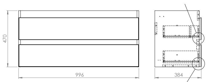 wymiary szafki bezuchwytowej 100 cm