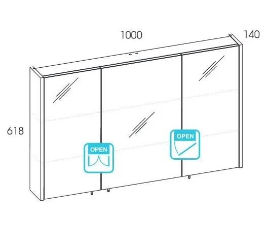 wymiary szafki wiszacej z lustrem 100 technobox new elita