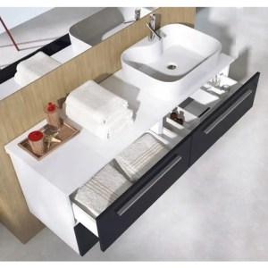 czarna szafka łazienkowa z blatem 120 cm