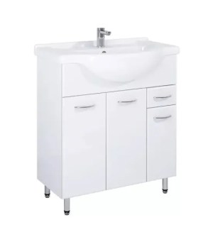 szafka łazienkowa biała z umywalka 75 cm na nóżkach