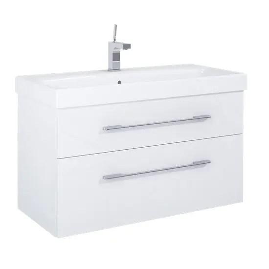 szafka z umywalka baracelona 100 biala lakier polysk white elita