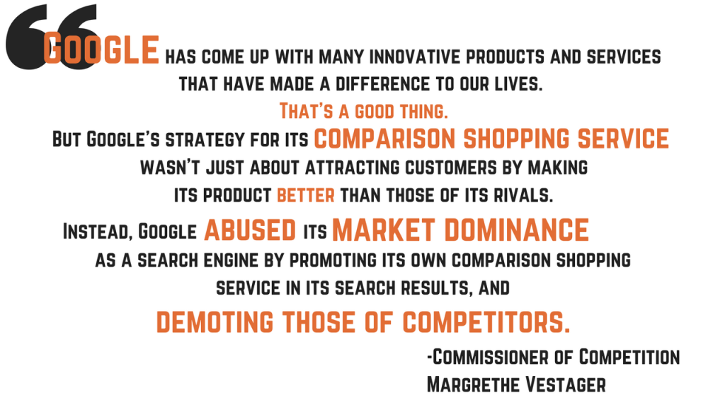 The EU Commissioner of Competition, Margrethe Vestager, states that Google has abused its market dominance and demotes its competitors.