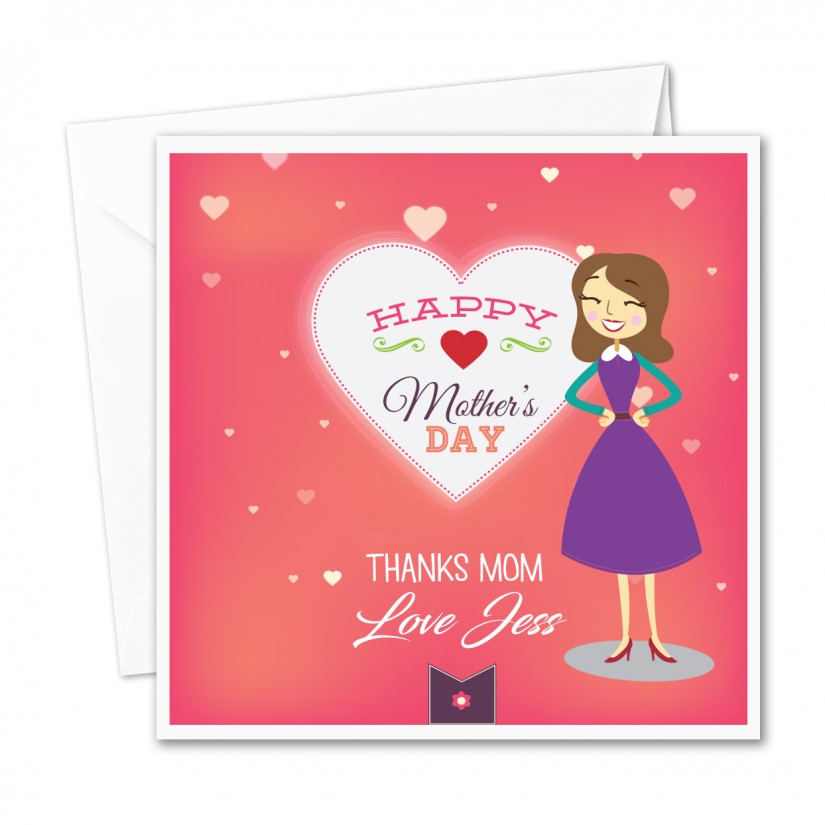 Personalised Mothers Day Card Cartoon Thanks Mom