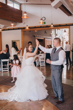 Barber Park Event Center Boise Wedding Photography Couple High Five