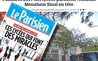 LeParisien.fr : Palmarès 2019 des lycées parisiens : Heikhal Menahem – Sinaï en tête