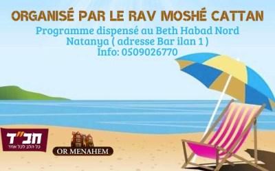 Kollel d'été à Netanya, du 9 au 30 août, de 9h à 13h au Beth Habad Nord