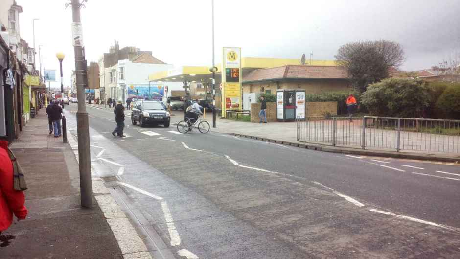 A cyclist almost gets hit at Morrisons garage