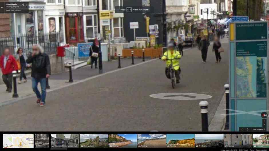 A cyclist in Cambridge Road, Hastings from Google Street View.