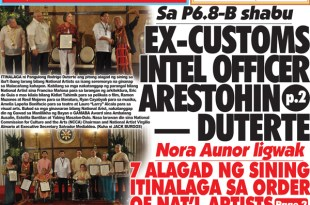 Hataw Frontpage Ex-customs intel officer arestohin — Duterte (Sa P6.8-B shabu )