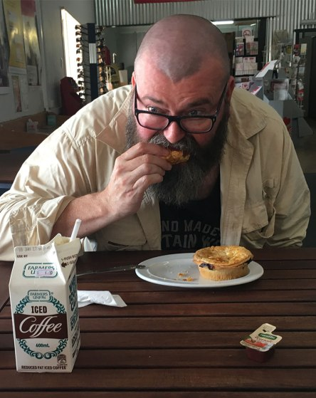 David eating pie at Hawker