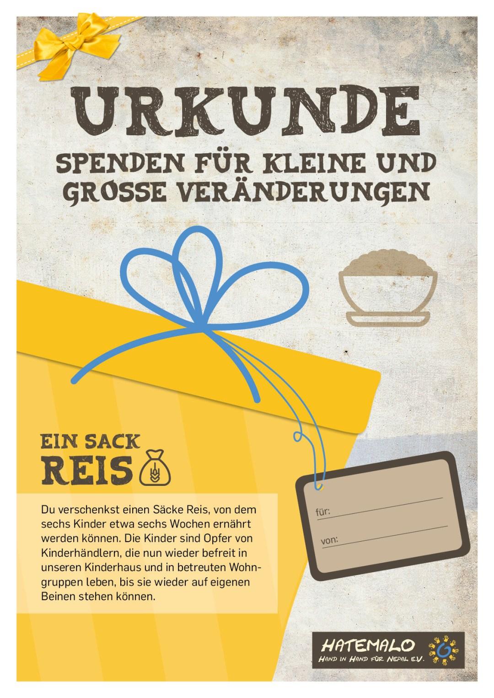 Urkunde 2016 Ein Sack Reis