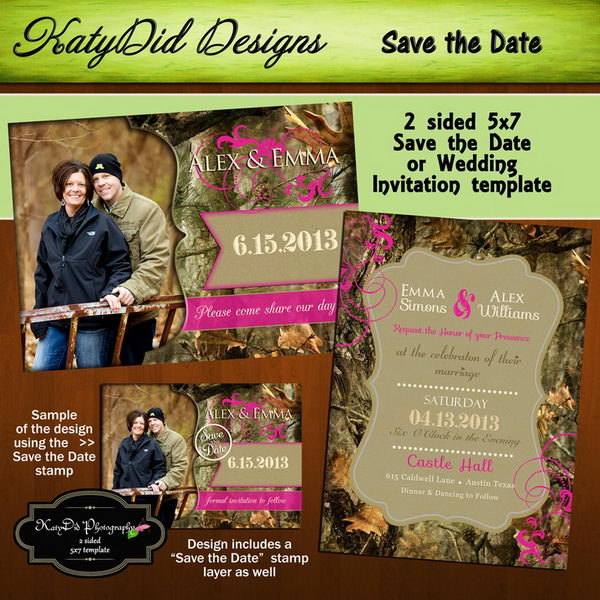Orange Camo Wedding Rings Corners Camouflage Pleasing Invitations