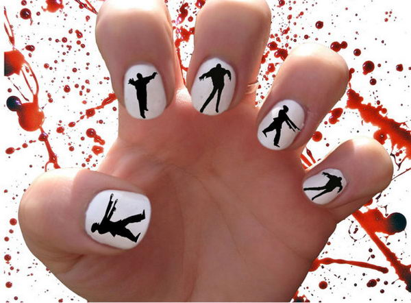 Zombie Walkers Cool Nail Art Which Show Off Your Y Spirit During The Freakish
