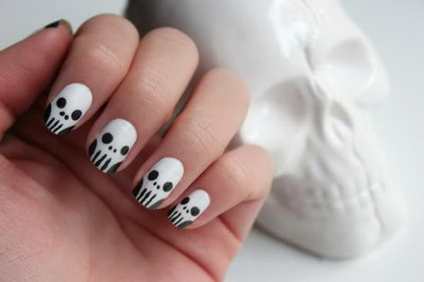 Skull Nails Cool Nail Art Which Show Off Your Y Spirit During The Freakish