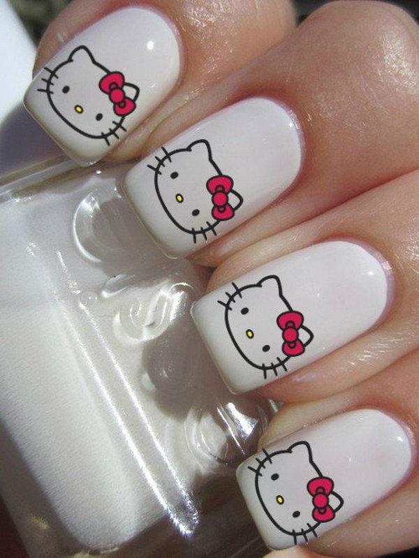 Cute Hello Kitty Nail Art Designs Hative