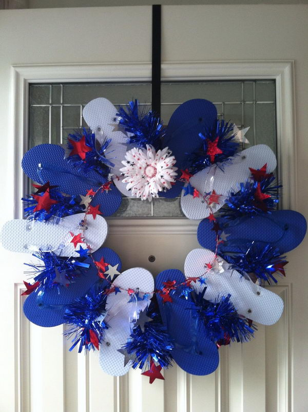 10 DIY Flip Flop Wreath Decorating Ideas   Hative DIY Flip Flop Wreath Decoration  Add a splash of color to your home with a