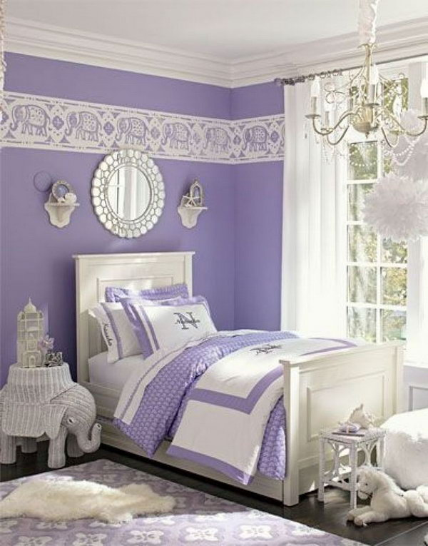 80 Inspirational Purple Bedroom Designs & Ideas - Hative on Decorations For Girls Room  id=31493
