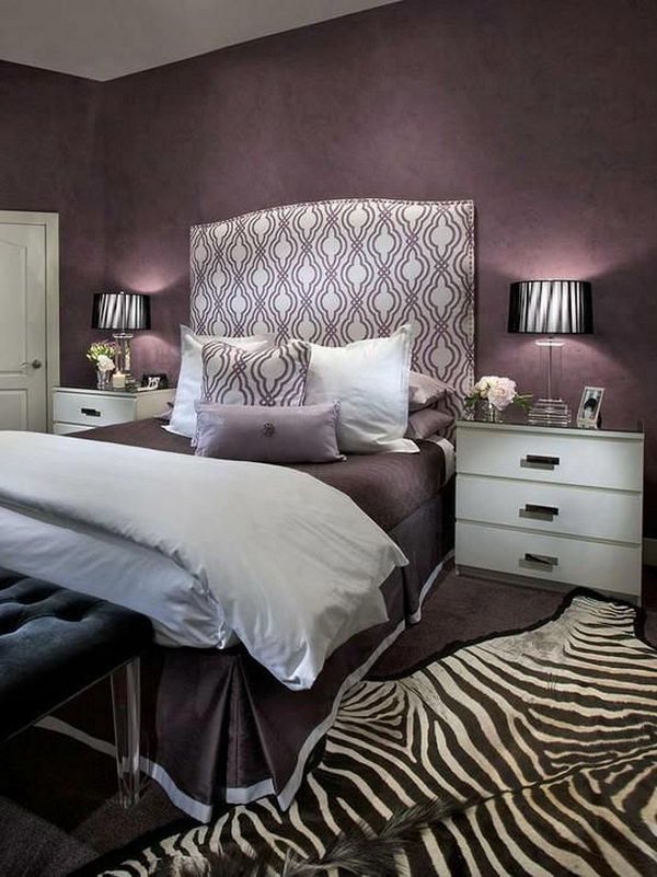 Headboard And Zebra Rug Accents This Bedroom Oozes Glamour With Its Mix Of Purple Hues
