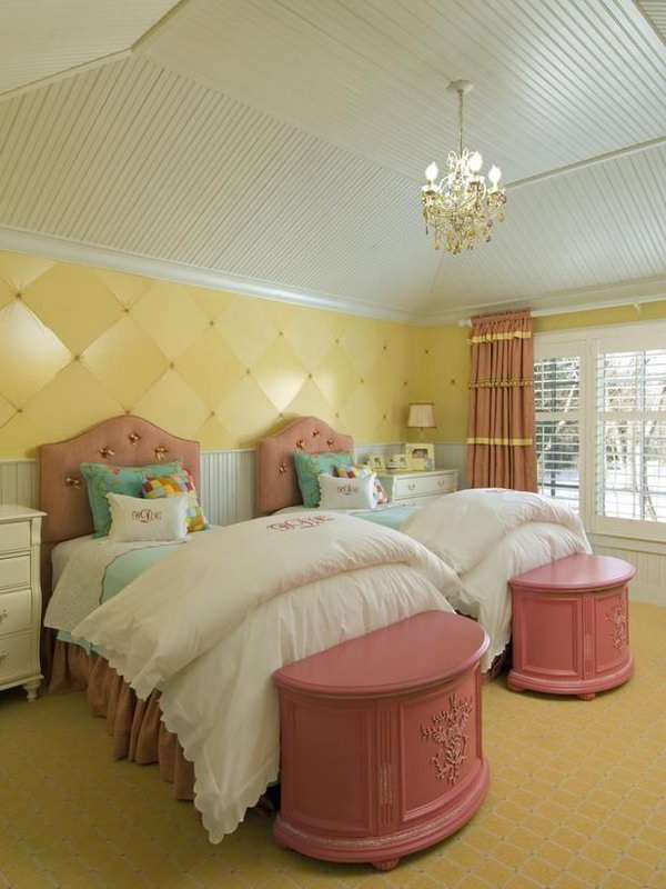 40+ Cute and InterestingTwin Bedroom Ideas for Girls - Hative on Bedroom Ideas For Girls Small Room  id=91342