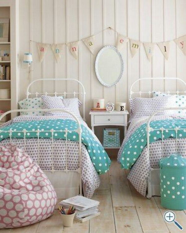 40+ Cute and InterestingTwin Bedroom Ideas for Girls - Hative on Girls Bedroom Ideas For Small Rooms  id=93982