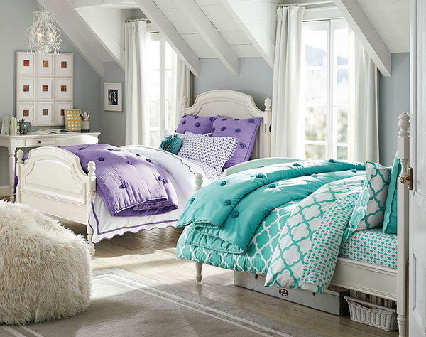 40+ Cute and InterestingTwin Bedroom Ideas for Girls - Hative on Bedroom Ideas For Girls Small Room  id=31068
