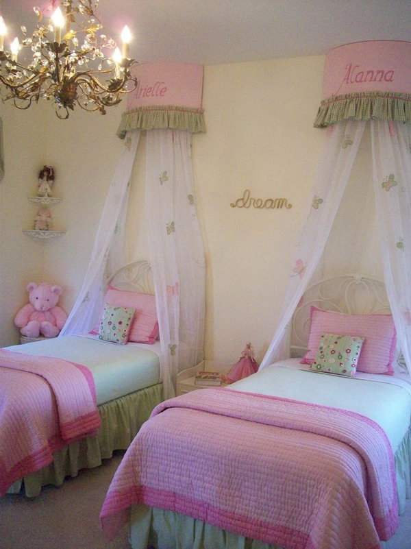 40+ Cute and InterestingTwin Bedroom Ideas for Girls - Hative on Girls Bedroom Ideas For Very Small Rooms  id=28637