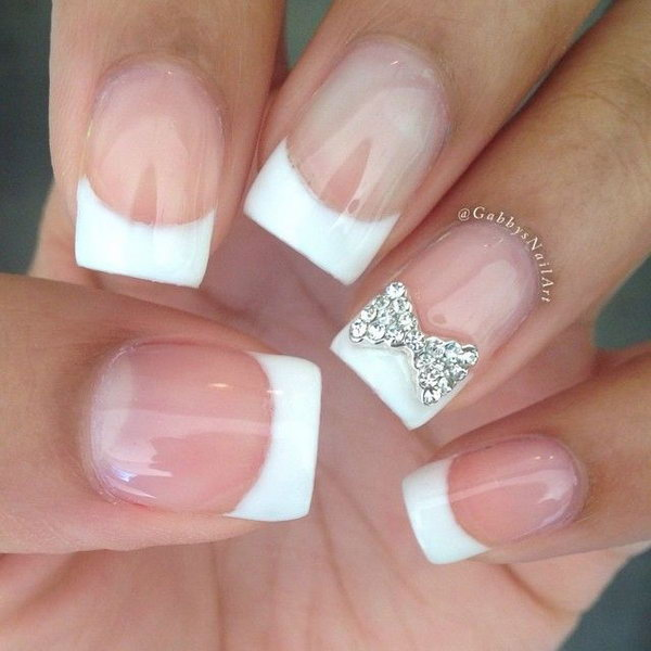 White Tip Nail Design With Glitter Nails Tips Designs Industriet