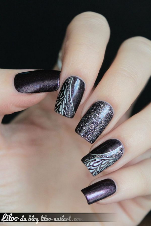 Purple Nails With White Flowers Nail Art Design Idea