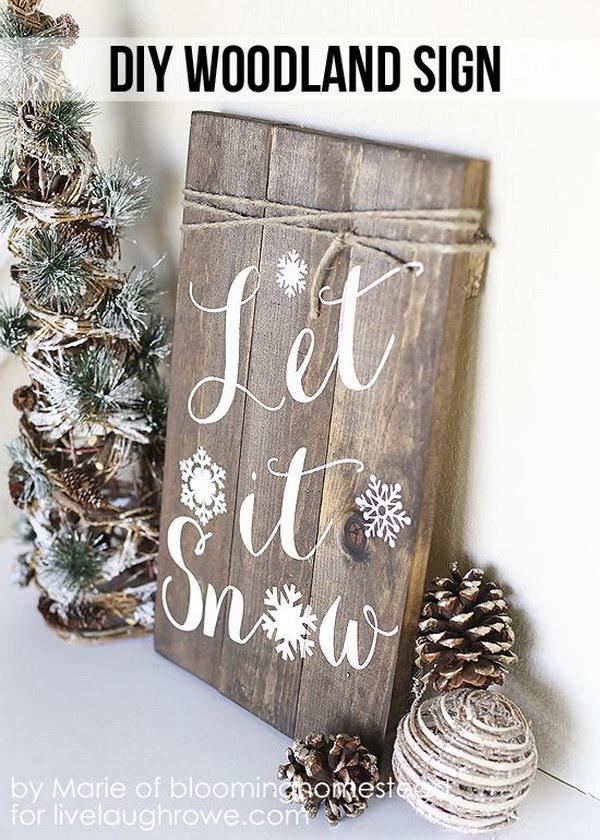 DIY Winter Woodland Sign.