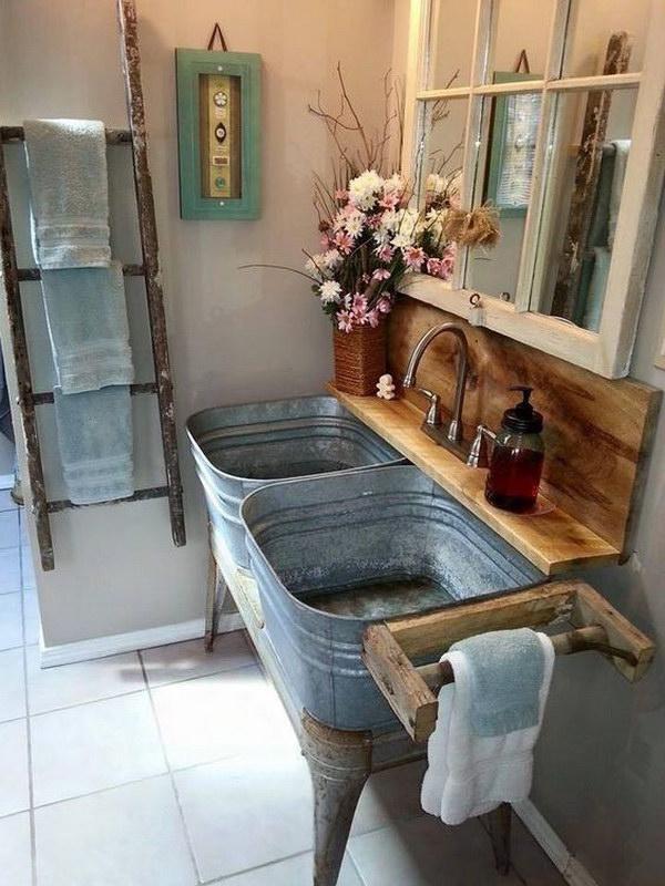 Rustic Farmhouse Bathroom Ideas - Hative on Rustic Farmhouse Bathroom  id=47049