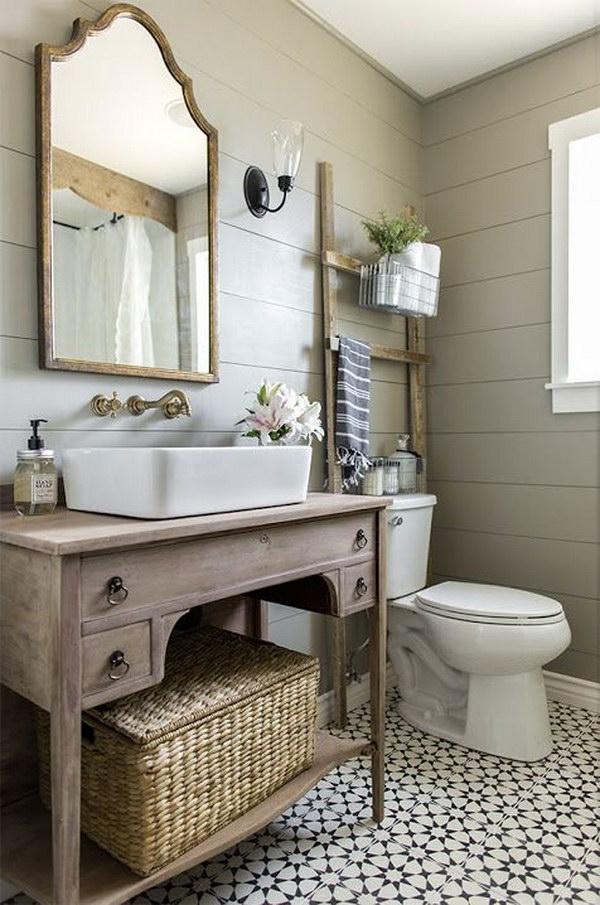 Rustic Farmhouse Bathroom Ideas - Hative on Rustic Farmhouse Bathroom  id=91136