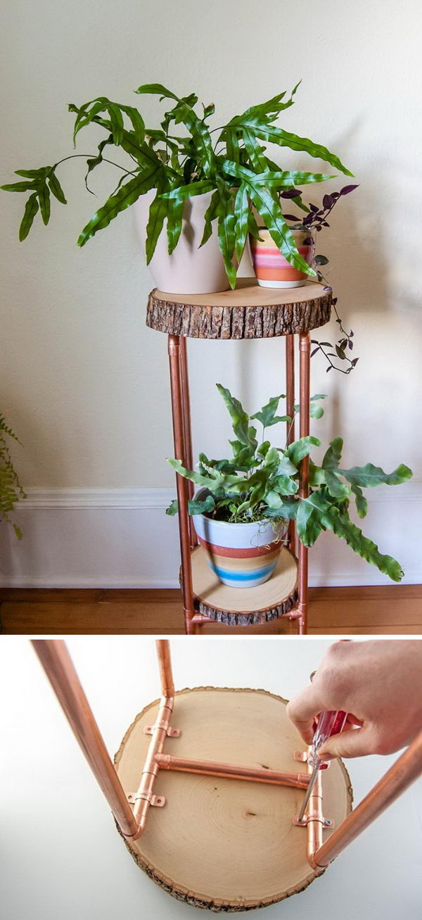 25+ DIY Plant Stands With Thrift Store Finds - Hative on Plant Stand Ideas  id=90397