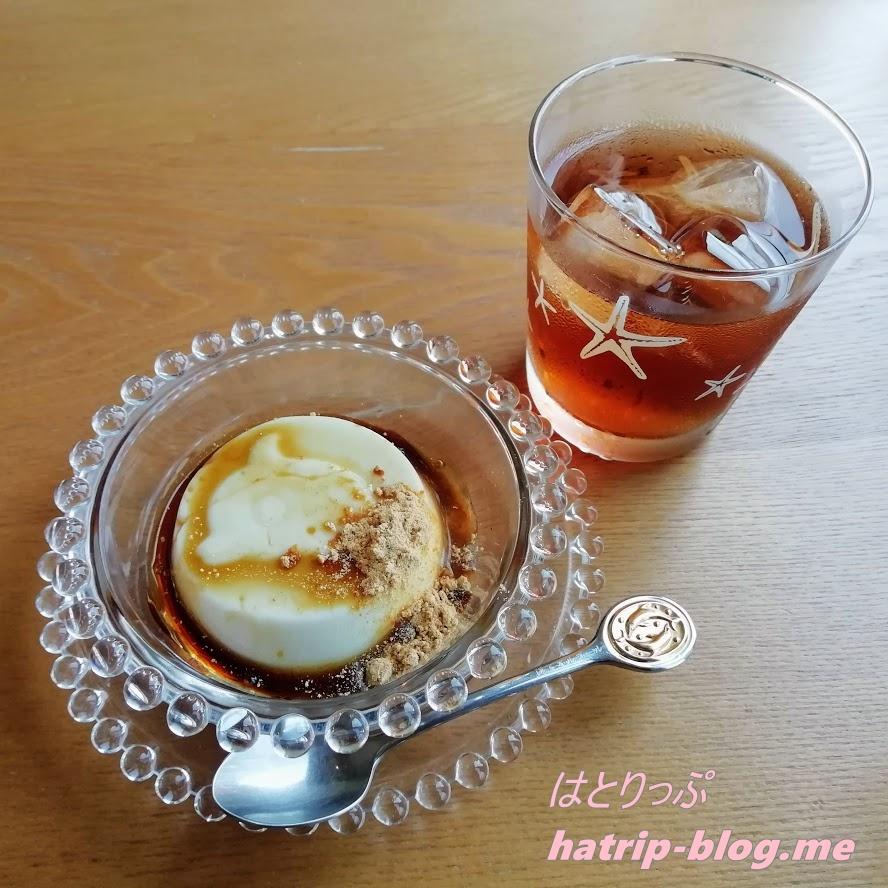 石川県七尾市 能登島 カフェ 海とオルゴール くず粉のミルクプリンと能登のほうじ茶セット