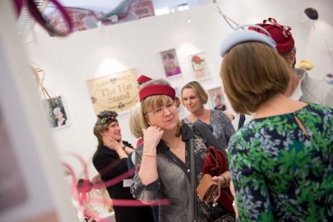 Chatting hats on the Emma Fozard Millinery stand