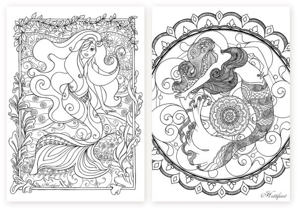 mermaid coloring pages for adults # 21