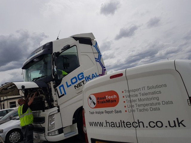 Logikal Network's vehicle being fitted with HaulTech vehicle CCTV solutions alongside the HaulTech van