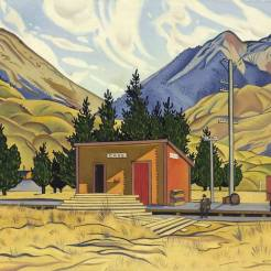 The railway station at Cass painted by Rita Angus in 1936